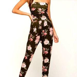 Heart & Hips Black Floral Jumpsuit